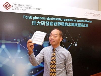Ir. Professor Wallace Leung Woon-Fong, Chair Professor of Innovative Products and Technologies, leads a research team of the Department of Mechanical Engineering at PolyU to develop an electrostatically charged PVDF nanofiber filter, which has enhanced performance in filtration efficiency, breathability and shelf life. (PRNewsfoto/The Hong Kong Polytechnic Unive)