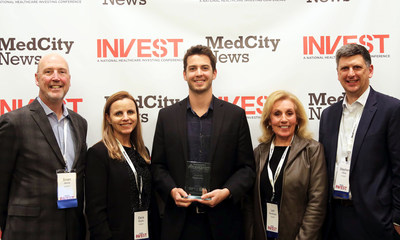 MedCity INVEST Pitch Perfect diagnostics track winner Odin Technologies' CEO Steven Hansen (middle) with team members from competition sponsor Invetech (L-R) Brian Jarvis, Eeva Routio, Lori Henderson and Stephen Hess.
