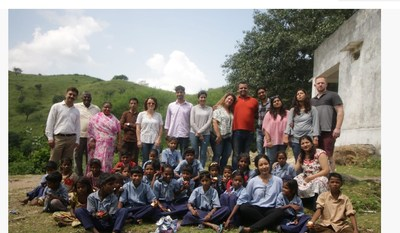 Team HPFY with students and teachers of Shiksha Kendra in Marua Village, Udaipur, India. This school was one of the HPFY Giving Day charity recipients.