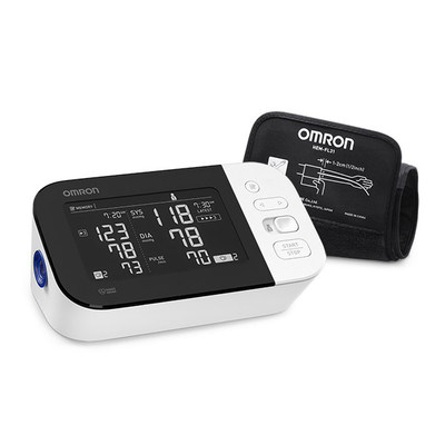 The newly redesigned Omron 10 Series Wireless Upper Arm Blood Pressure Monitor has a horizontal dual-display and stores up to 200 readings for two users.