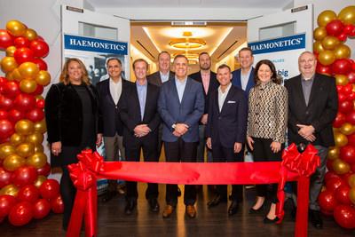 Medical technology company Haemonetics celebrates opening its new Boston headquarters at 125 Summer Street.