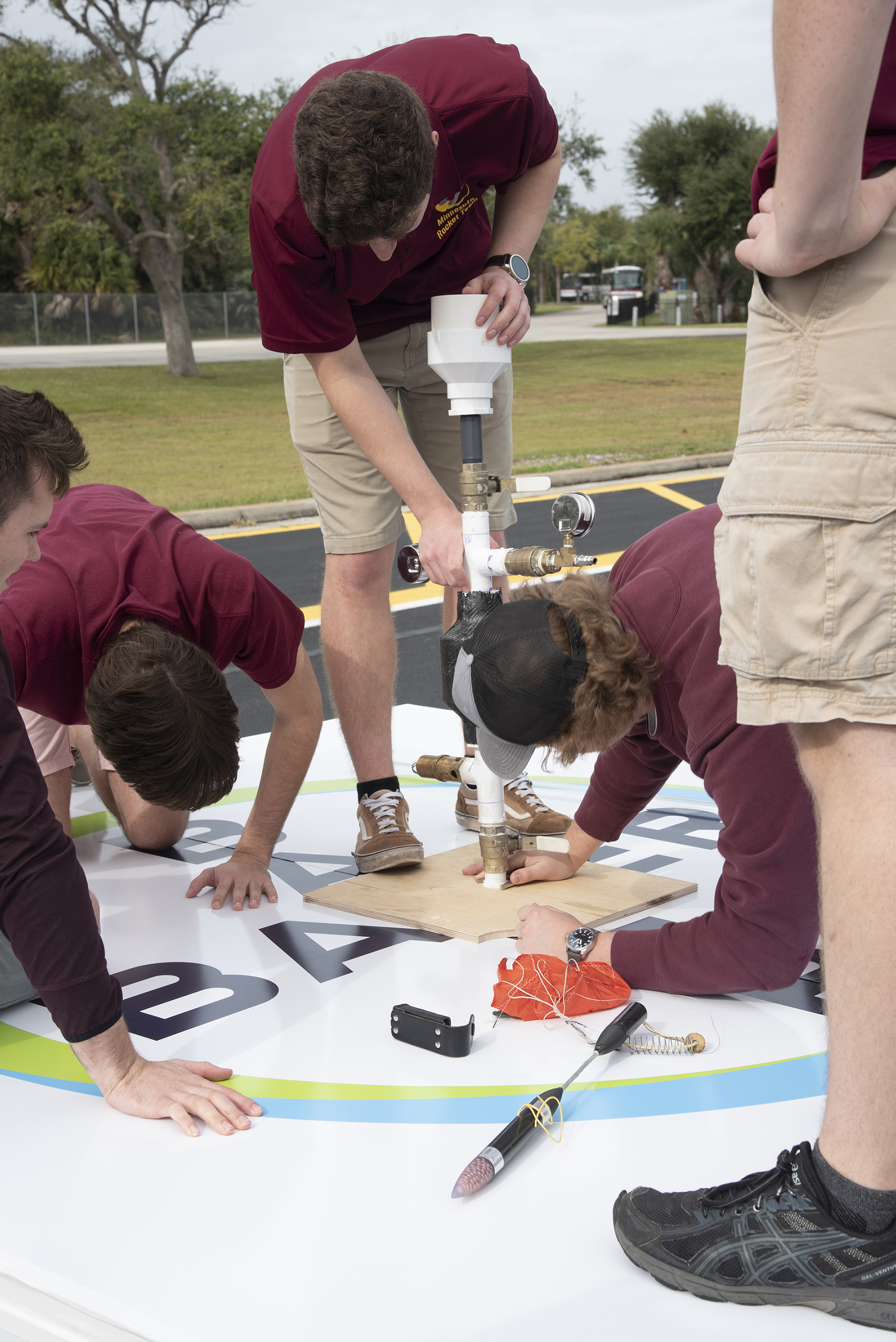 The team from the University of Minnesota prepares to launch their rocket at the 2019 Alka-Rocket Challenge on Thursday.