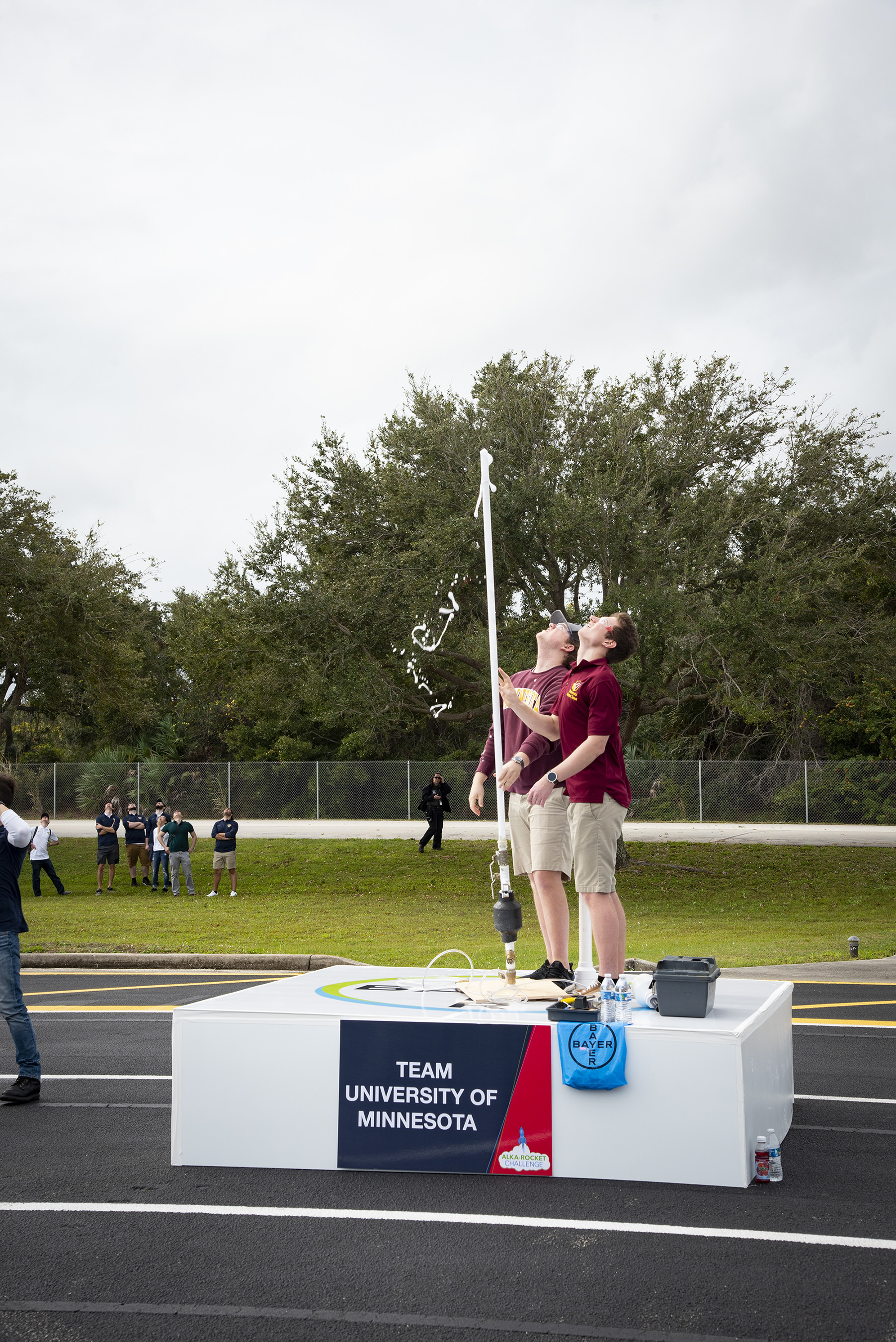 Members of the rocket team from the University of Minnesota watch as their Alka-Seltzer powered rocket soars 535 feet into the air at the 2019 Alka-Rocket Challenge on Thursday.